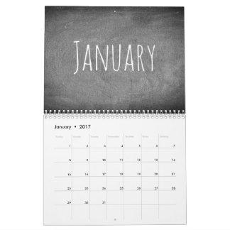 Texto blanco y negro 2017 del calendario de la