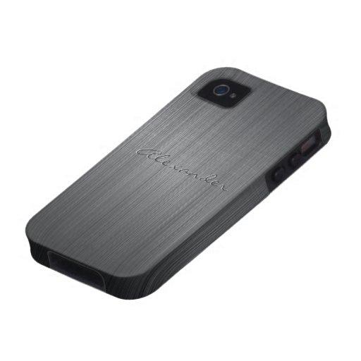 Texto de aluminio cepillado negro del Case-Mate iPhone 4 carcasa