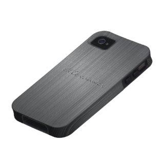 Texto de aluminio cepillado negro del Modelo-Perso Case-Mate iPhone 4 Carcasa