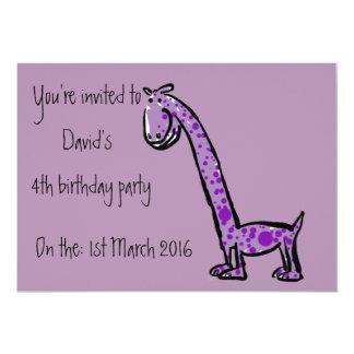 Texto de la púrpura del dinosaurio del dibujo invitación 12,7 x 17,8 cm