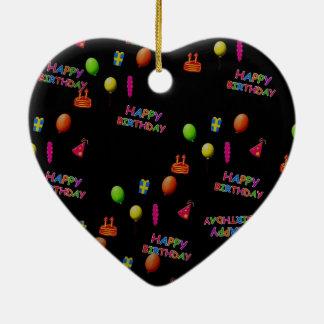 Texto de la torta del gorra de los globos de la adorno navideño de cerámica en forma de corazón