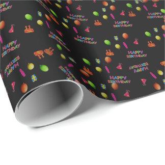 Texto de la torta del gorra de los globos de la papel de regalo