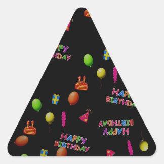 Texto de la torta del gorra de los globos de la pegatina triangular