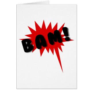 ¡Texto de los tebeos y diseño rojos y negros BAM d Felicitaciones
