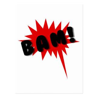 ¡Texto de los tebeos y diseño rojos y negros BAM d Tarjeta Postal
