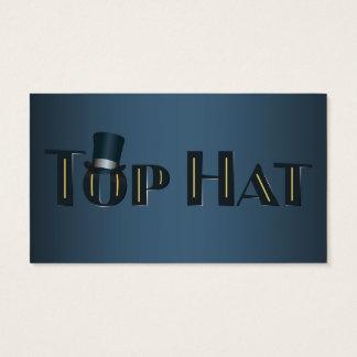 Texto decorativo del añil del sombrero de copa tarjeta de negocios