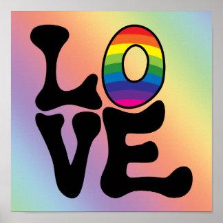 Texto del amor del arco iris del Hippie Poster
