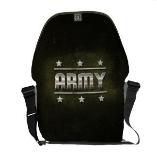 Texto del ejército del metal bolsa de mensajería