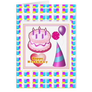 Texto del globo n de la torta de HappyBIRTHDAY Tarjetón
