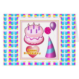 Texto del globo n de la torta de HappyBIRTHDAY Tarjeton