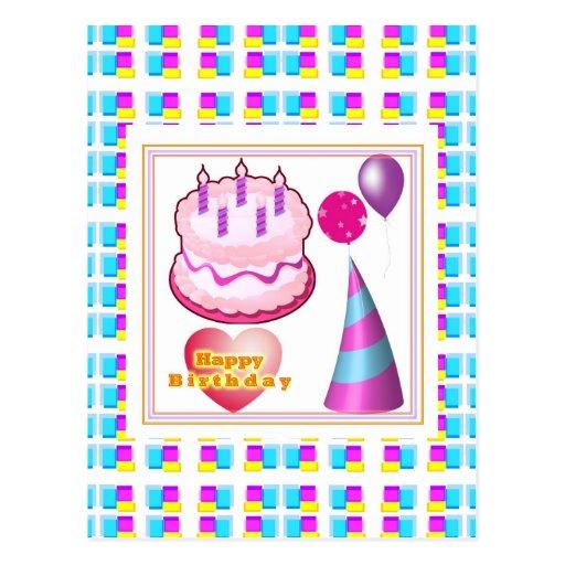 Texto del globo n de la torta de HappyBIRTHDAY Postales