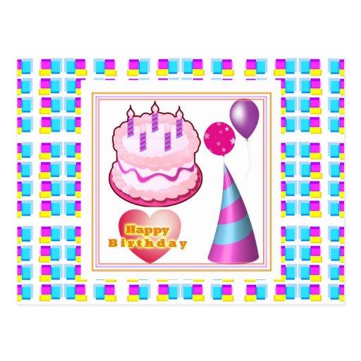 Texto del globo n de la torta de HappyBIRTHDAY Postal