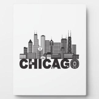 Texto del horizonte de la ciudad de Chicago blanco Placa Expositora