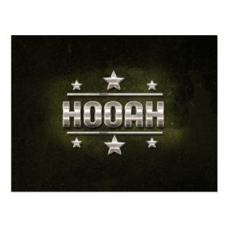 Texto del metal Hooah Tarjetas Postales