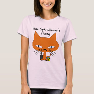 Texto del negro del gatito de Schrodingers Camiseta