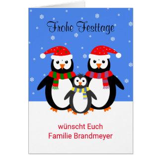 Texto editable alemán de los pingüinos buenas tarjeta de felicitación