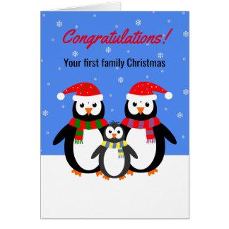 Texto editable de la primera del navidad familia tarjeta de felicitación