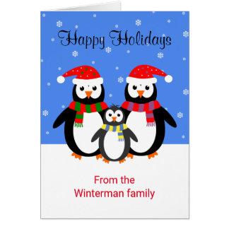 Texto editable de los pingüinos del navidad buenas tarjeta de felicitación