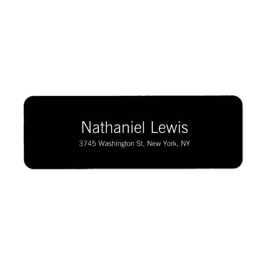 Texto elegante del personalizar del negro del etiqueta de remitente