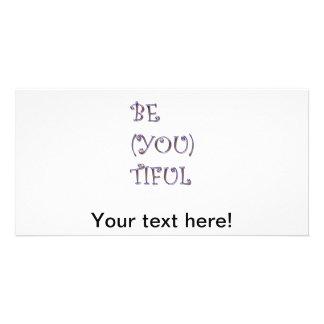 Texto hermoso tarjeta fotografica personalizada