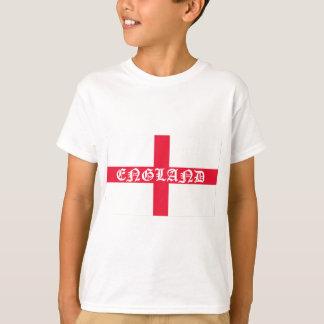 Texto inglés del blanco de la bandera camiseta