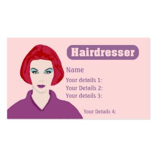 Texto rosado y púrpura del Redhead de la tarjeta d Tarjeta De Negocio