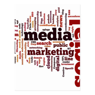 texto social de los medios de la palabra-nube postal