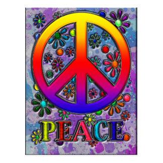 Texto y flores retros del signo de la paz postal