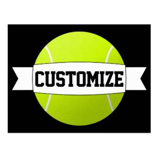 Texto y postal de encargo de la pelota de tenis