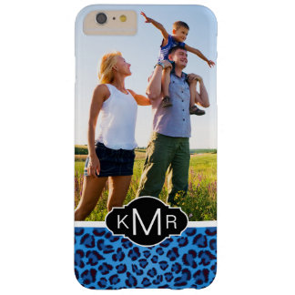 Textura azul del leopardo del monograma el | funda barely there iPhone 6 plus