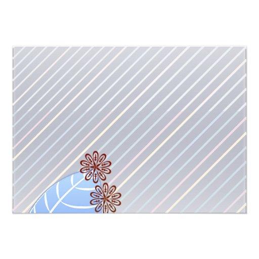 Textura azulada hermosa de la hoja y de las rayas invitaciones personalizada