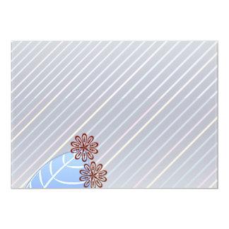 Textura azulada hermosa de la hoja y de las rayas invitación 12,7 x 17,8 cm