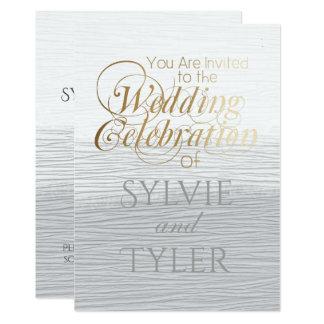 Textura blanca y gris elegante simple de la invitación 12,7 x 17,8 cm