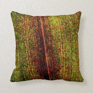 Textura colorida de la hoja cojín decorativo