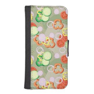 Textura con las rebanadas de verduras fundas tipo cartera para iPhone 5