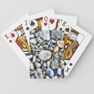 Textura de los guijarros de las piedras barajas de cartas