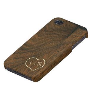 Textura de madera de caoba envejecida personalizad iPhone 4 carcasa