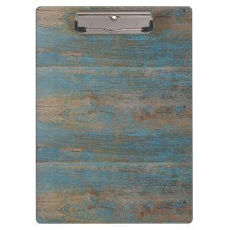 Textura de madera de la falsa playa azul carpeta de pinza