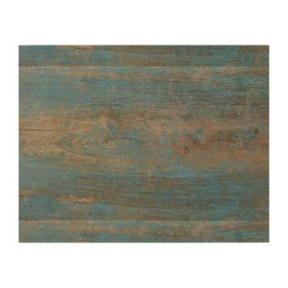 Textura de madera de la falsa playa azul impresión en madera