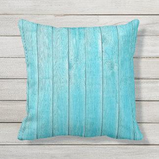 Textura de madera de la turquesa al aire libre cojín decorativo