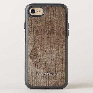 Textura de madera llana con nombre funda OtterBox symmetry para iPhone 8/7