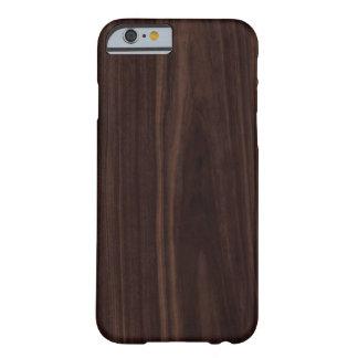 Textura de madera oscura de caoba del grano del funda de iPhone 6 barely there