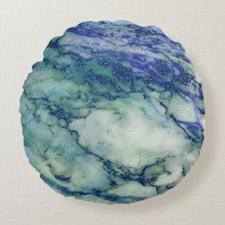 Textura de mármol azul verde clara cojín redondo