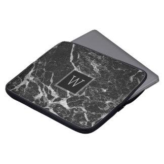 Textura de piedra de mármol negra y gris clara funda para portátil