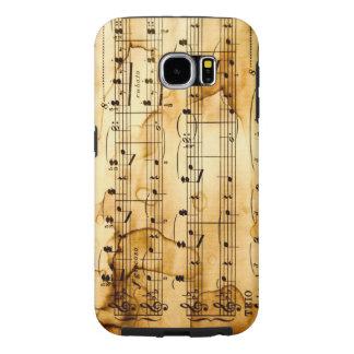 textura del vintage con las notas musicales funda samsung galaxy s6