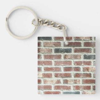 Textura gris del ladrillo del fondo de la pared de llavero cuadrado acrílico a una cara
