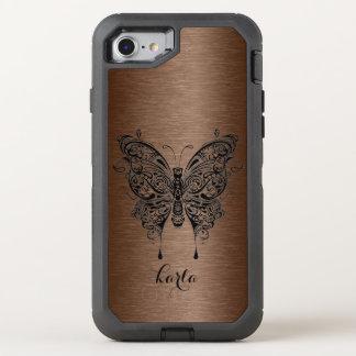 Textura metálica de Brown y mariposa tribal negra Funda OtterBox Defender Para iPhone 8/7