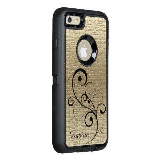 Textura negra del oro del remolino personalizada funda OtterBox defender para iPhone 6 plus