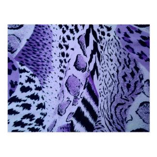 Textura púrpura del estampado de animales postal