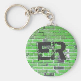 Textura verde con monograma de la pared de llavero redondo tipo chapa